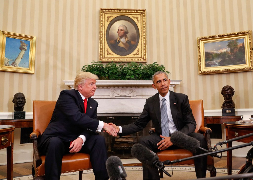 President Barack Obama and President-elect Donald Trump shake hands following their meeting in the Oval Office of the White House in Washington two days after the election.