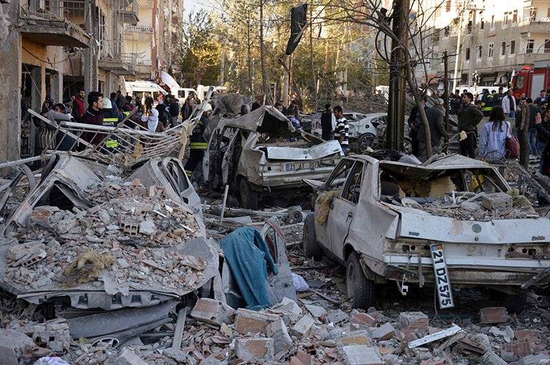 Damage caused by a car bomb in the Turkish city of Diyarbakir, early Friday, that killed eight people.