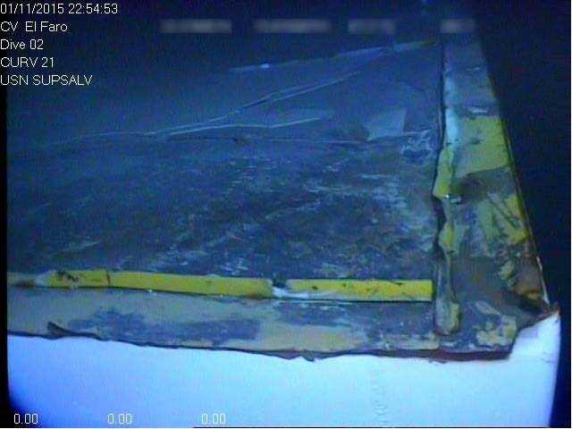 The corner of the deck where the El Faro's navigation bridge detached is shown in an underwater photo.
