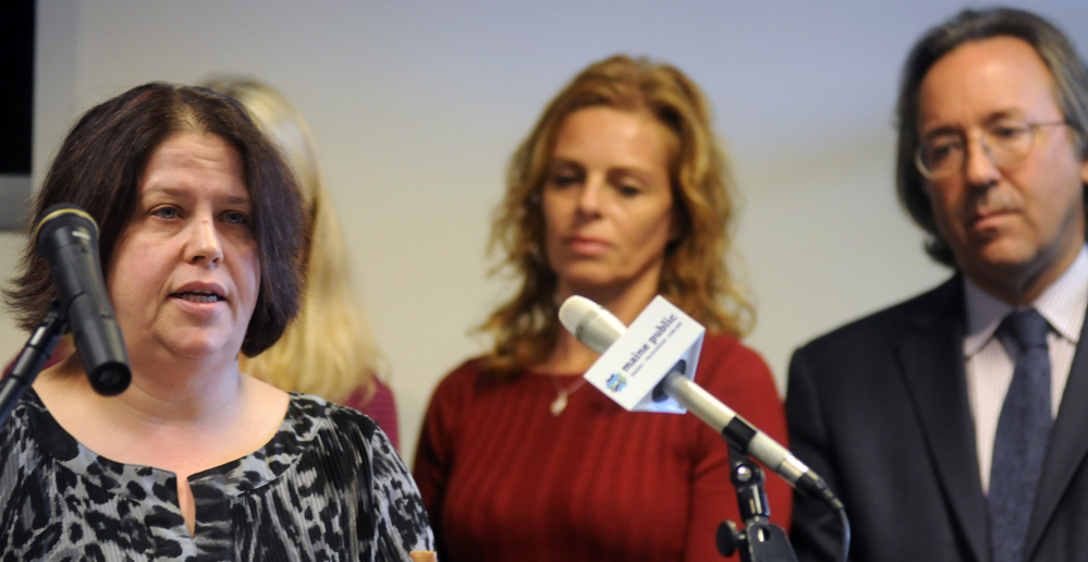 Wendy Brennan, left, of Mount Vernon discusses arsenic in her well water Thursday during a news conference about a bill dealing with arsenic levels. At right are Rep. Drew Gattine, D-Westbrook, and Sen. Amy Volk, R-Scarborough.