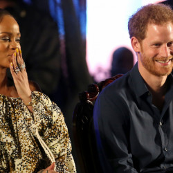 Britain's Prince Harry and singer Rihanna attend celebrations at the Kensington Oval cricket ground in Bridgetown, Barbados.