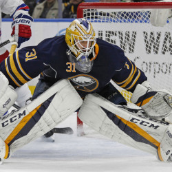 Buffalo Sabres goalie Anders Nilsson made 22 saves as Buffalo topped the Metropolitan Division-leading Rangers 4-3 on Thursday night.