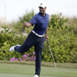 Tiger Woods reacts after saving par on the 16th hole during the second round at the Hero World Challenge on Friday in Nassau, Bahamas.