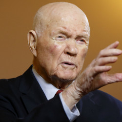 John Glenn speaks in an interview with The Associated Press in Columbus, Ohio, on May 14, 2015. On Wednesday, an Ohio State University official said Glenn has been hospitalized for more than a week.