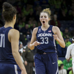 UConn's Katie Lou Samuelson, 33, celebrates the Huskies' 72-61 win over Notre Dame on Wednesday in South Bend, Indiana.