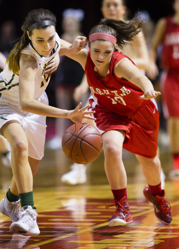 Eva Mazur, left, and Lydia Henderson were opponents last season but are now teammates after Mazur transferred from McAuley (now Maine Girls' Academy) to South Portland. The Red Riots reached the Class AA South final last year and are expected to be state championship contenders.