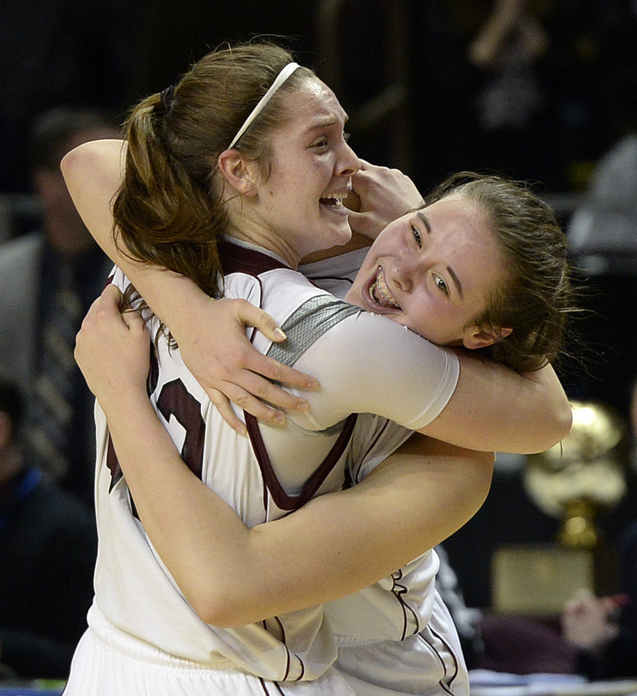 Emily Esposito, left, and Mackenzie Holmes led Gorham to the Class AA state championship last winter, and both standouts are back for a team that again looks formidable.