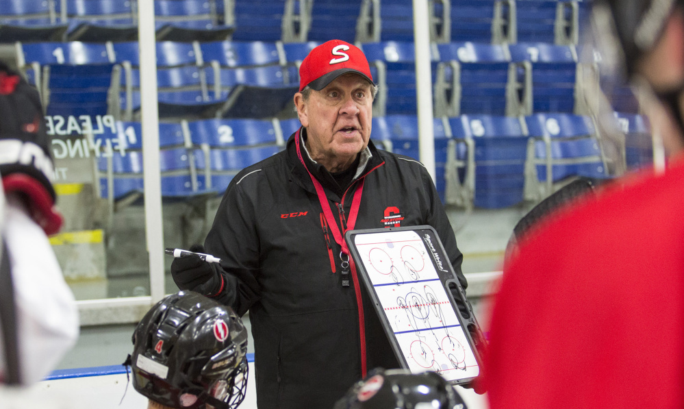 "Scarborough's Norm Gagne, in his 42nd year coaching high school hockey, says that with so many rinks closing around the state, ""I just think it's a dangerous time for hockey."""