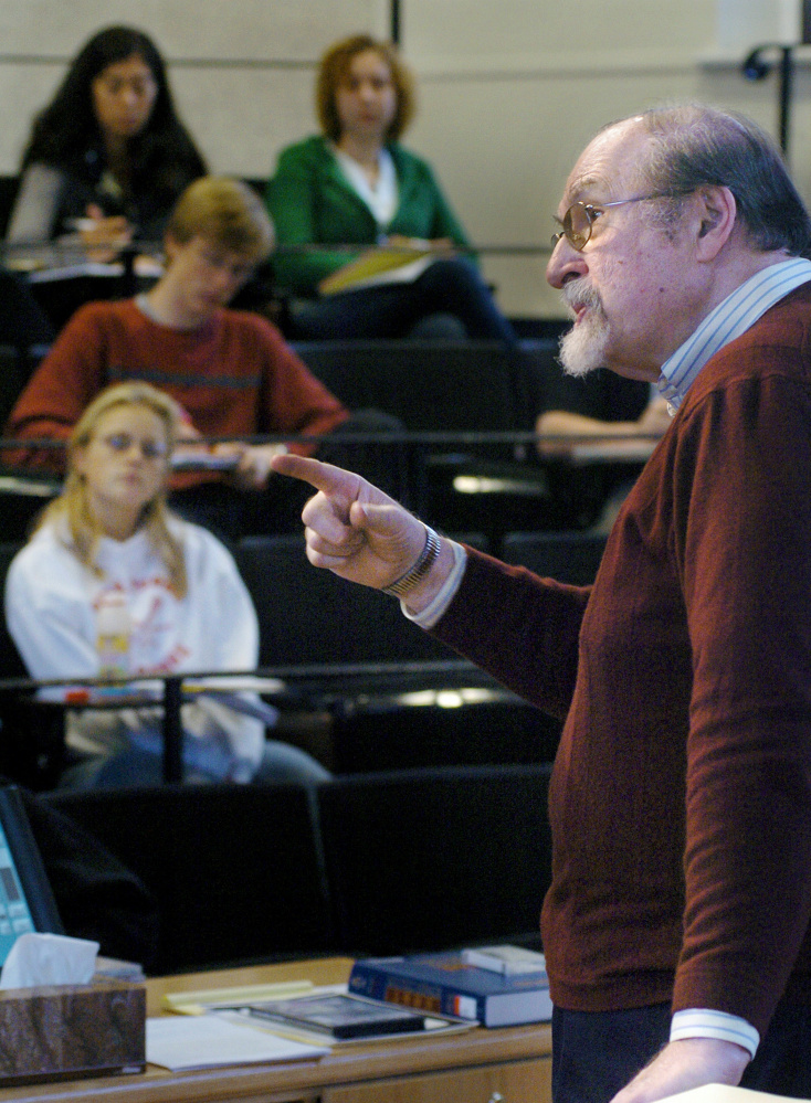 Elliott Schwartz instructs students in 2006 when he was a Bowdoin College music professor. His classical compositions have been performed by symphonies around the country.