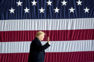 President-elect Donald Trump arrives for a rally at Baton Rouge Metropolitan Airport on Friday in Baton Rouge, La. Trump has consistently dismissed the intelligence community's findings about Russian hacking.