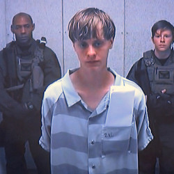 Dylann Roof in a video before a judge in Charleston, S.C., June 19, 2015, shortly after he was arrested. Friday, the jury saw a video of him made during an FBI interview.