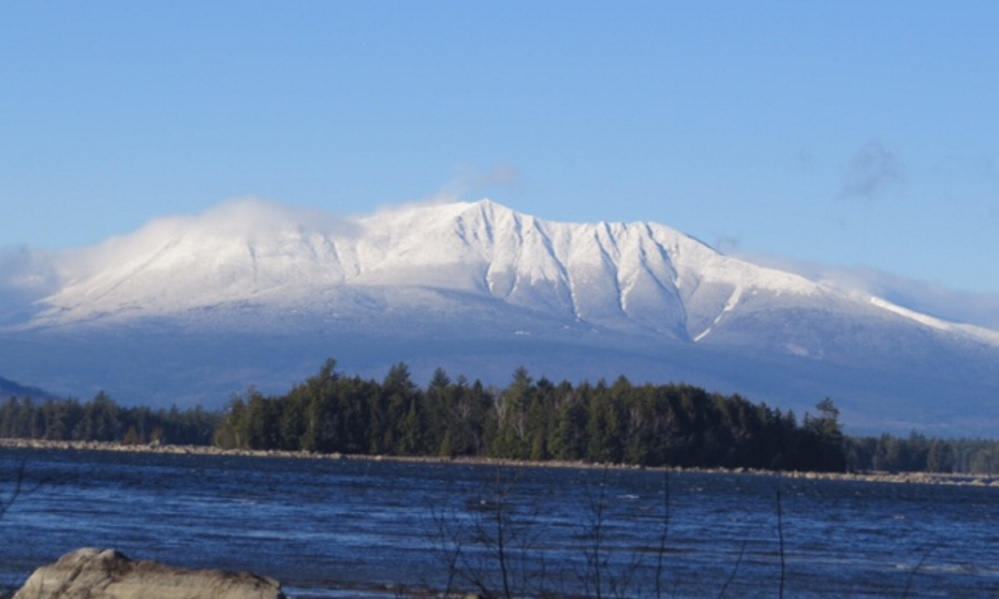 The snow cover adds a certain majesty to Katahdin, captured from Lake Millinocket by Hope MacDonald of Millinocket.