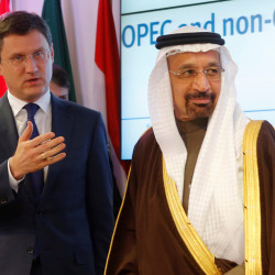 Russia's energy minister, Alexander Novak, and Saudi Arabia's energy minister, Khalid al-Falih, leave a news conference after an OPEC meeting in Vienna, Austria on Saturday.