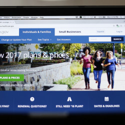 The HealthCare.gov website on display in Washington. Health experts say the decision to buy coverage on the exchanges shouldn't boil down to a gamble.