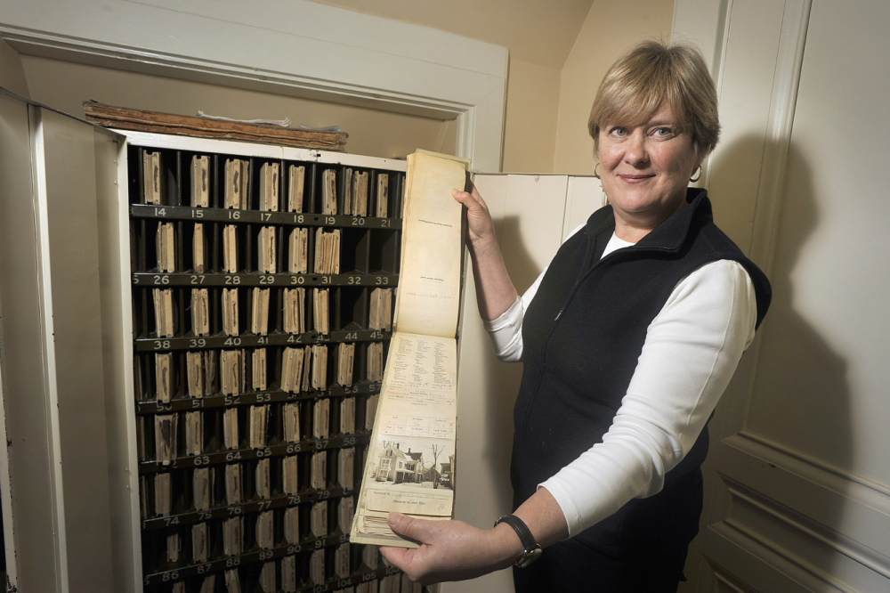 Deb Andrews manages Portland's Historical Preservation Program in City Hall.  John Ewing/staff Photographer.