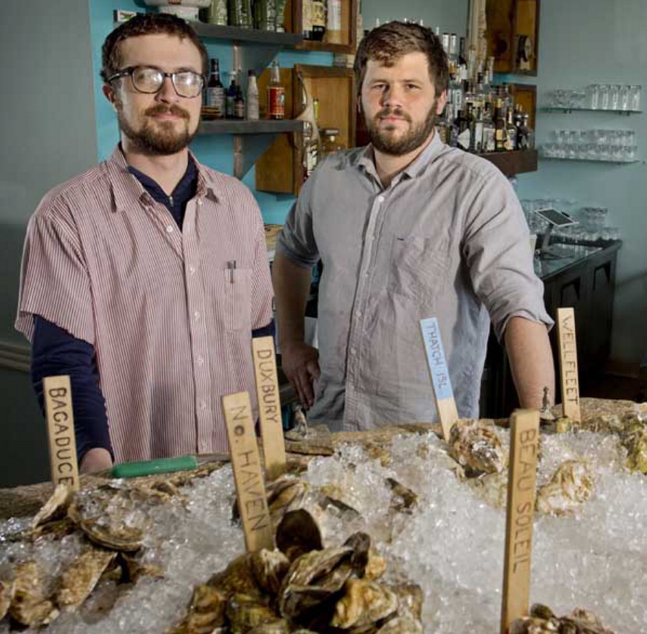 Mike Wiley, left, shown in 2013 with Andrew Taylor, fellow owner and chef of Eventide Oyster Co., says of a planned expansion into Boston: