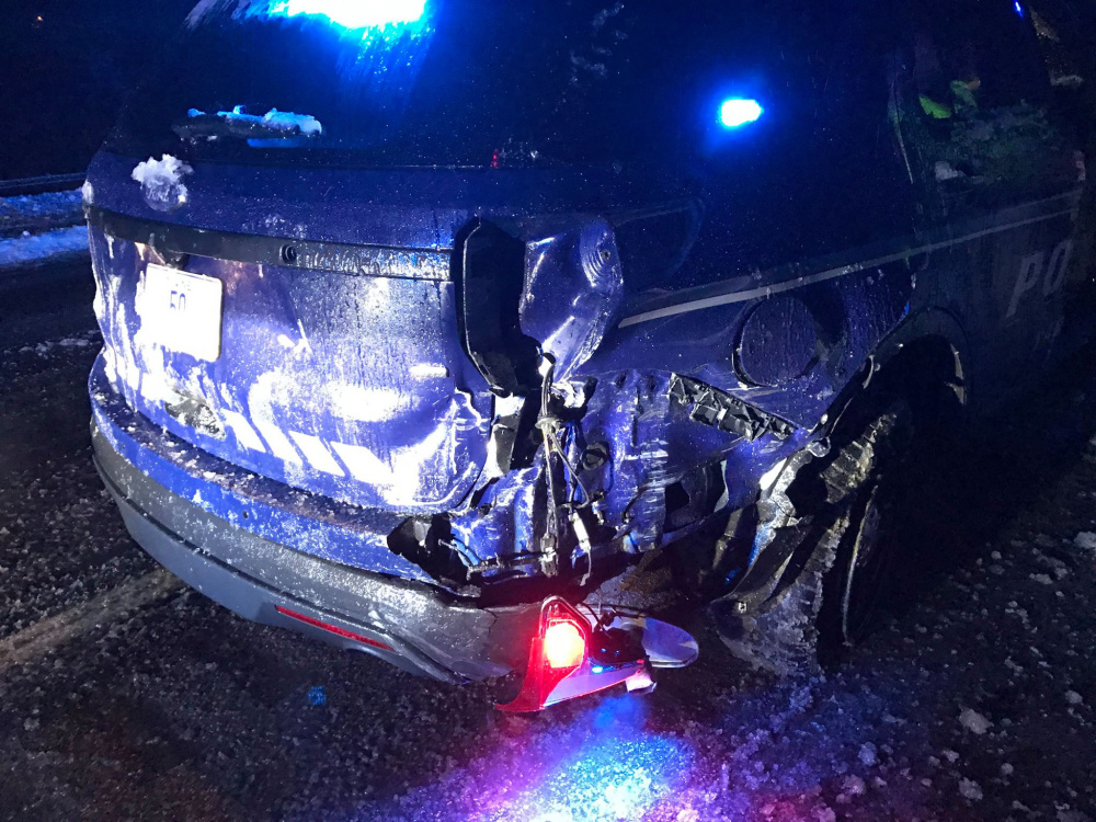 A Yarmouth police cruiser was struck by a Honda minivan early Sunday morning at mile 17 Interstate Route 295. Yarmouth Police Officer Derek Lukas was injured and taken to Maine Medical Center with non-life threatening injuries.