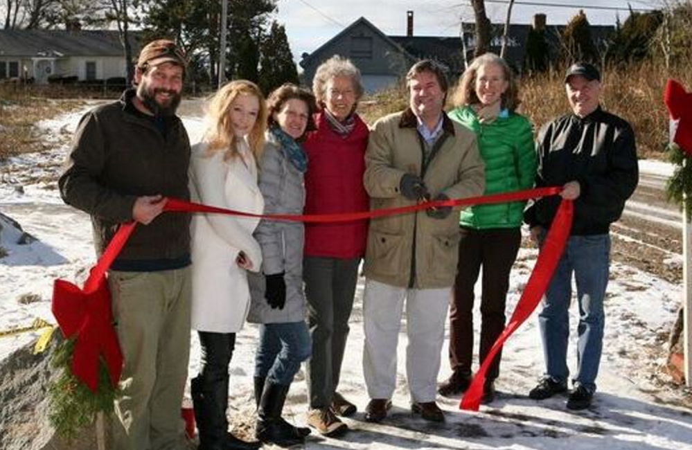 The ribbon-cutting for Scarborough Land Trust's first permanent trail at Pleasant Hill Preserve in Scarborough.