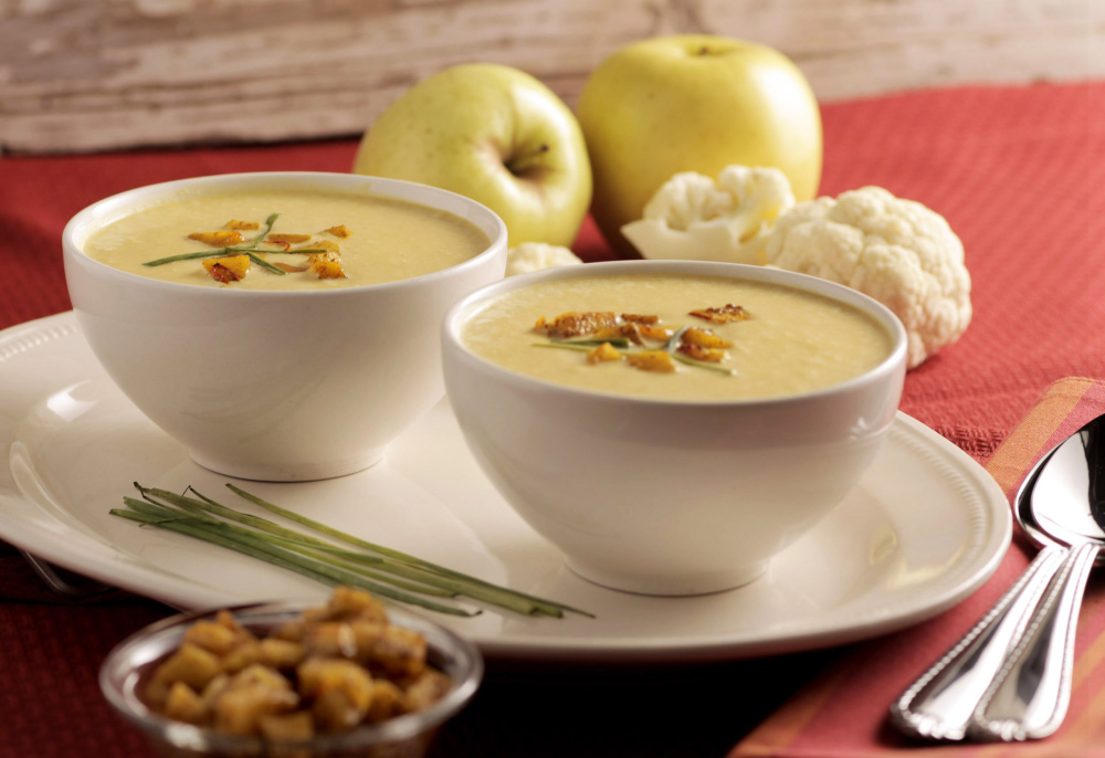 Curried cream of cauliflower and apple soup.