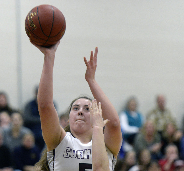 Mackenzie Holmes scored 32 points to help Gorham beat Greely 67-64 in a girls' basketball game Tuesday night in Gorham.