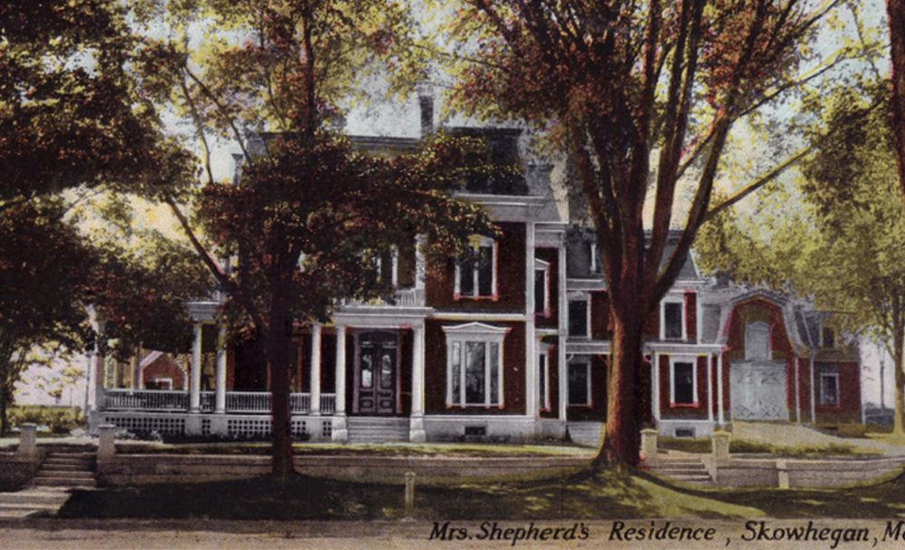 A postcard postmarked 1911 of the home at 400 Water St., Skowhegan, that was sold at auction Wednesday. The house dates from the 1840s.