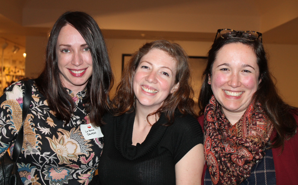 LeAnna Grosso, left, creative director at Maine Women magazine, with artist Kimberly Convery and Christi Razzi, interim director of development at the PMA were part of the crowd at the museum's open house.