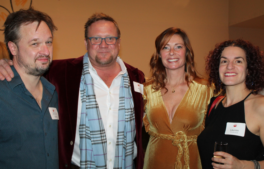 Artist Aaron T Stephan, left, of Portland with PMA trustee Alex Fisher and his wife, Brianne, and artist Lauren Fensterstock.
