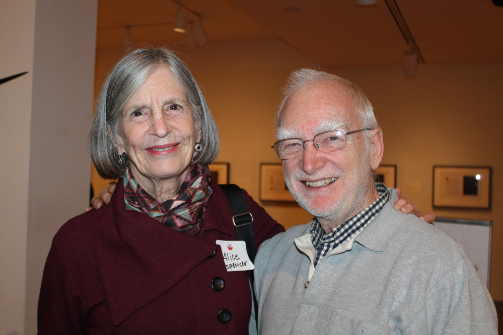 Alice Spencer of Portland with Bruce Brown, curator emeritus at the Center for Maine Contemporary Art in Rockland