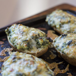 Twice baked potatoes with winter greens.