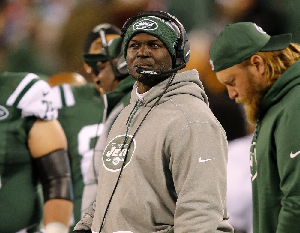 New York Jets Coach Todd Bowles looks on during a his team's 22-17 loss to the Patriots at East Rutherford, N.J., on Nov. 27. Bowles may miss the rematch in New England on Saturday after he was hospitalized with an illness on Friday.