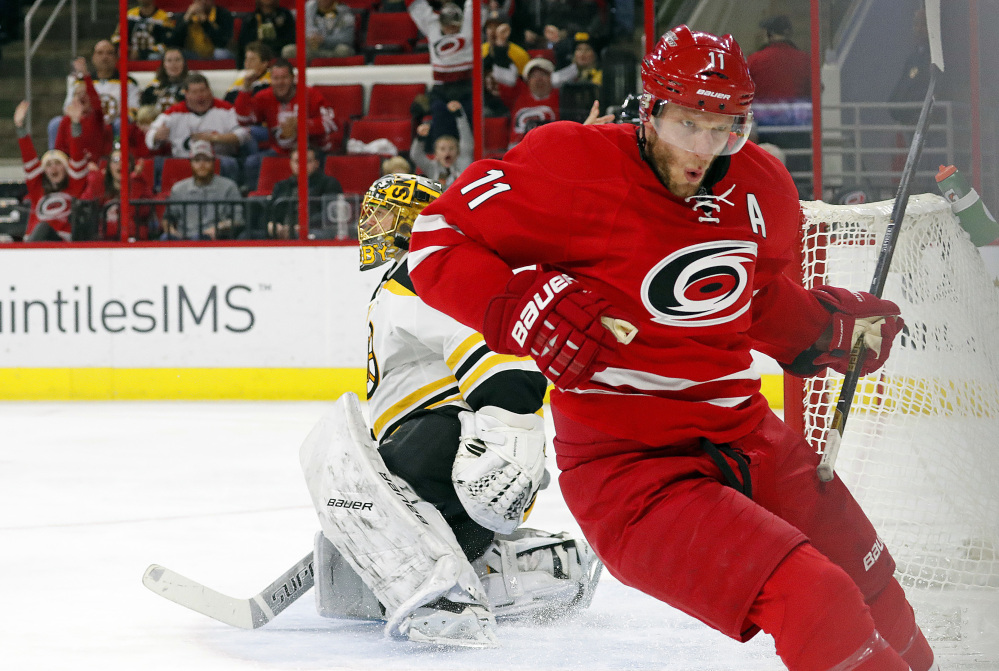 Carolina's Jordan Staal celebrates after scoring a short-handed goal against Boston in the second period of the Hurricanes 3-2 win in overtime Friday in Raleigh, N.C.
