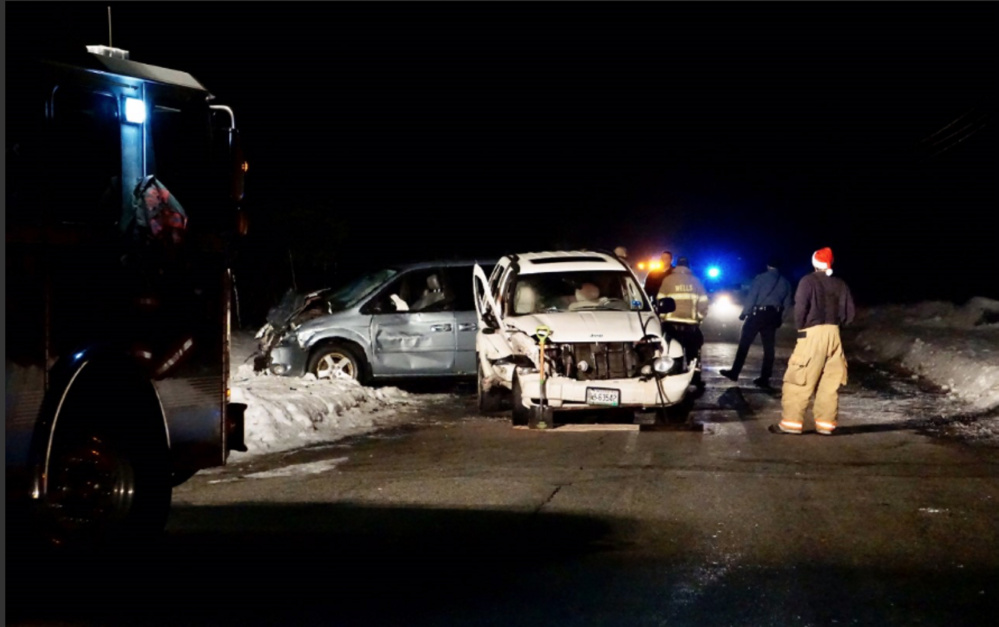 Two vehicles crashed on Boyd Road in Wells on Saturday evening, police say.