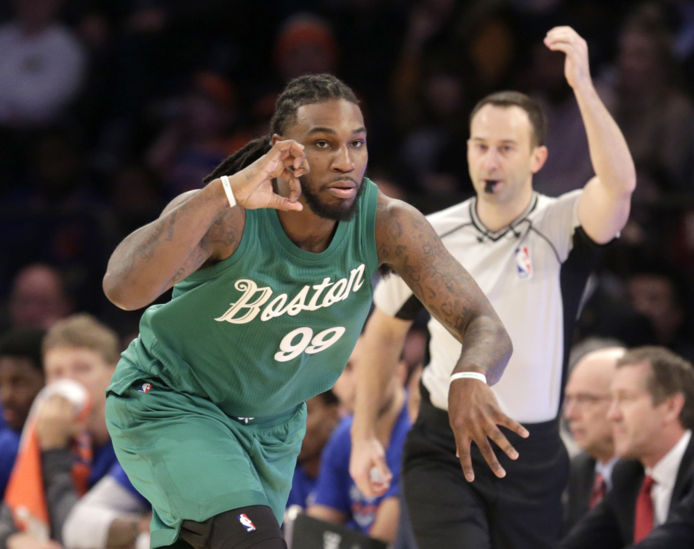 Boston's Jae Crowder reacts after hitting a 3-pointer in the first half Sunday in New York.