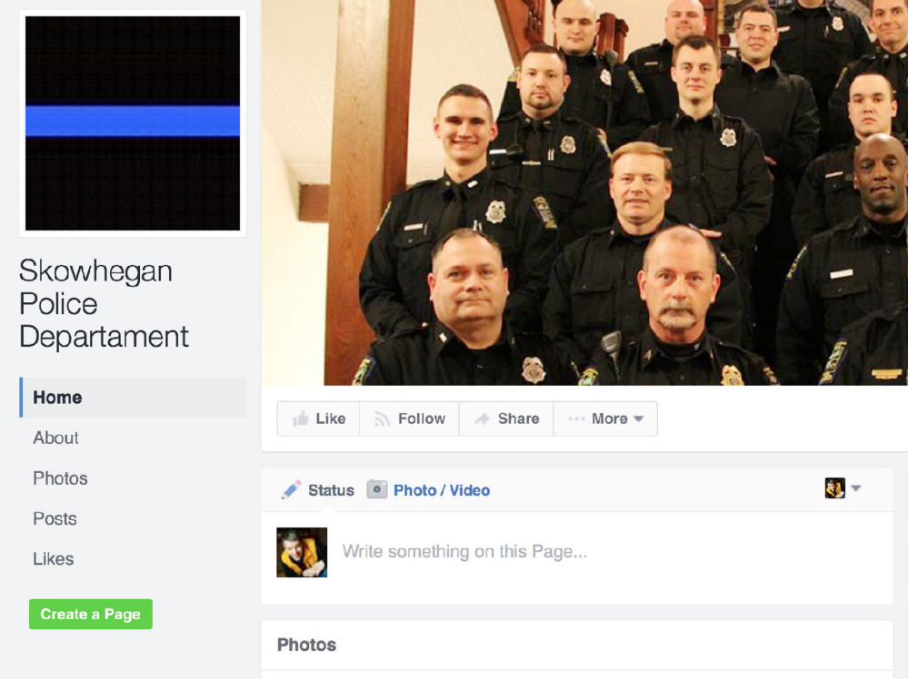 This fake Facebook page pretends to be the Facebook page of the Skowhegan Police Department.
