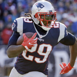 New England Patriots running back LeGarrette Blount rushes for a touchdown during the first half of an NFL football game against the Los Angeles Rams, Sunday, Dec. 4, 2016, in Foxborough, Mass. (AP Photo/Elise Amendola)