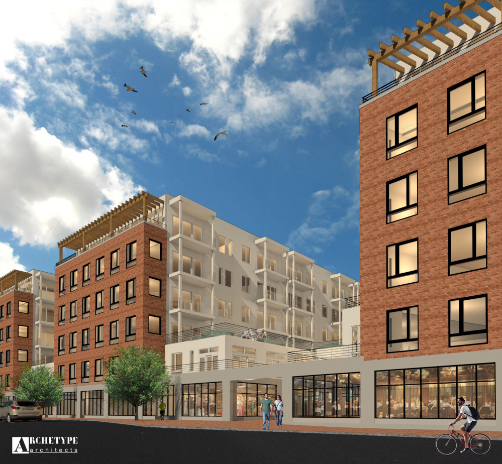 """Development plans for the former Rufus Deering lumberyard site at 383 Commercial St. call for building facades made of bricks, with exterior walls facing the courtyards """"primarily fiber cement and a light reflective color."""" Rendering courtesy of architect David Lloyd"""