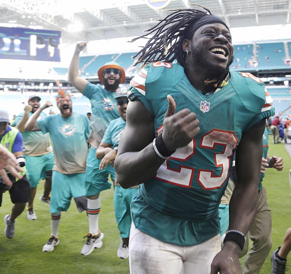 Jay Ajayi, a second-year running back from Boise State, ranks sixth in the NFL in yards rushing despite totaling just 117 through Week 5 for the Miami Dolphins. He is just the fourth player to have three 200-yard games in a season.