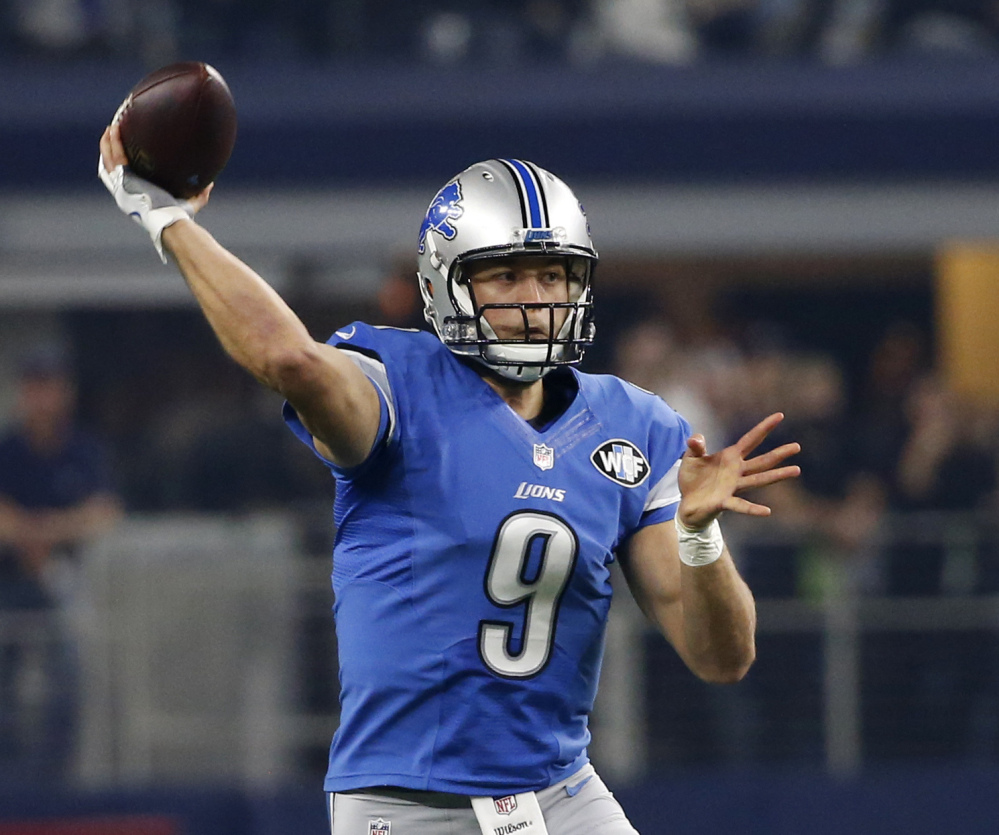 Matthew Stafford threw for 21 touchdowns and just five interceptions in the first 12 games of the season but has struggled the last three weeks with a finger injury.
