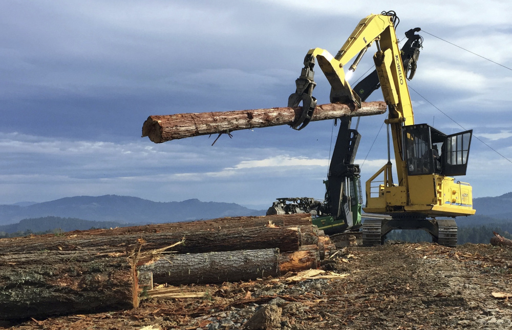 Loggers like these in Riddle, Ore., could be supplying makers of high-tech building materials in the future.