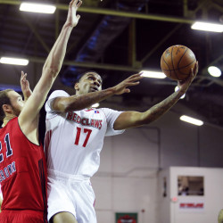 Arthur Edwards of Maine reaches around Alec Brown of Windy City to put up a shot during the first half of Saturday's game at the Portland Expo. The Red Claws won, 117-106. (Derek Davis/Staff Photographer)