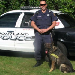 Taz with a Portland police officer.