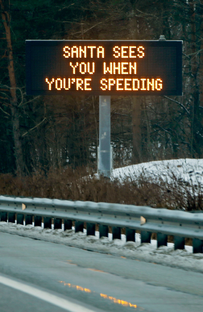 Maine Department of Transportation has posted an amusing, seasonal admonishment on its roadside message boards.