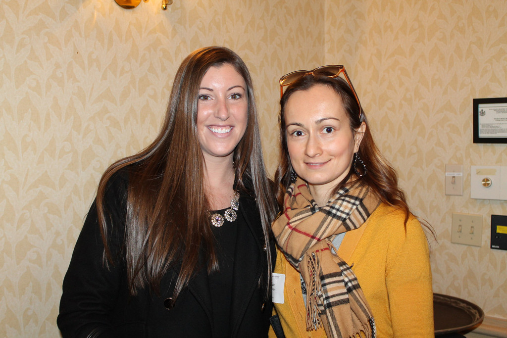 Bethany Bougie and Kate Pichugina of Macpage at the women's leadership luncheon at Holiday Inn by the Bay.