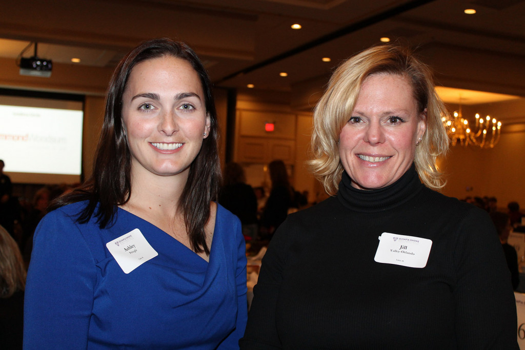 Ashley Pringle of Maine & Co. with Jill Valley-Orlando of The Knight Canney Group. More than 650 guests gathered at the Holiday Inn By The Bay to support former Maine Sen. Olympia Snowe and her Women's Leadership Institute.
