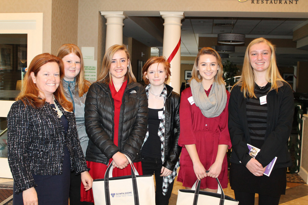 Olympia's Leader Adviser Kate Simmons with Olympia's Leaders from Lisbon High School: Grace Tibbetts, Madison Smit, Ashley Greene, Olivia Clark and Ivy Morris.