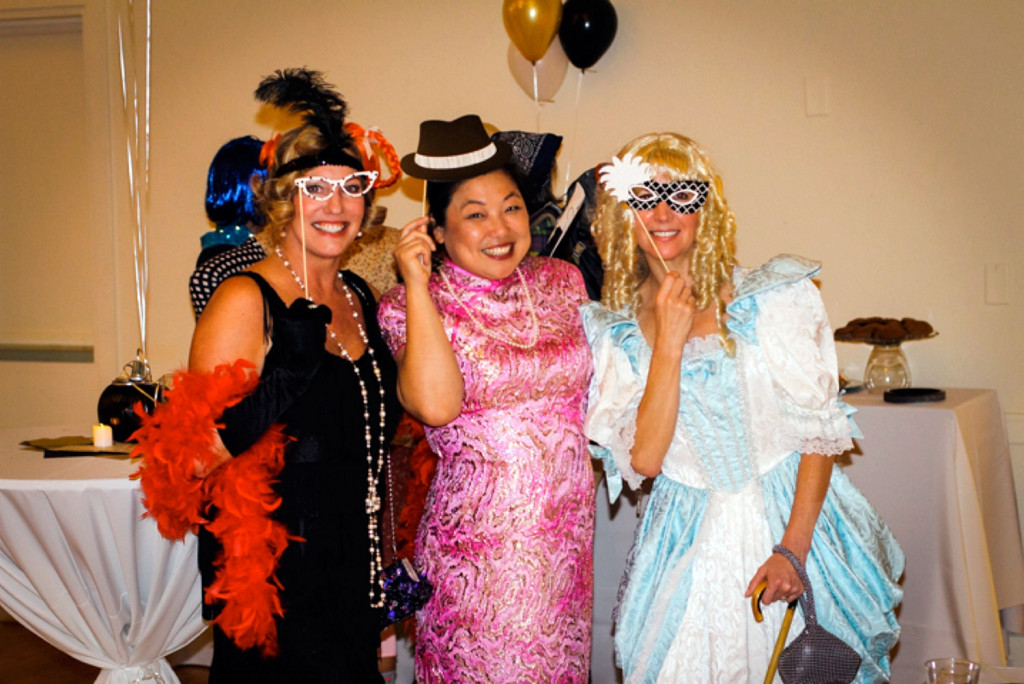 Joan DeWolf, Committee Member Anita Liou, and Elizabeth Watson dressed up for Falmouth's Costumes and Cocktails event.