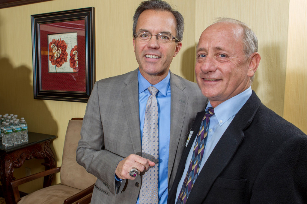 NESN Red Sox host Tom Caron and Day One volunteer and Macpage COO Ralph Hendrix at a VIP reception prior to Day One's 43rd Annual Celebration.