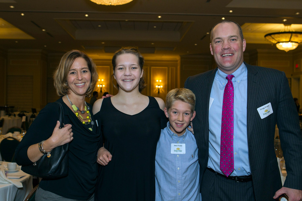 Jill Frame, Day One board member, with Lilli Frame, Jake Frame and Gregg Frame, the Making A Difference Award winner and founder of Taylor, McCormack & Frame, LLC at Day One's 43rd Annual Celebration banquet.