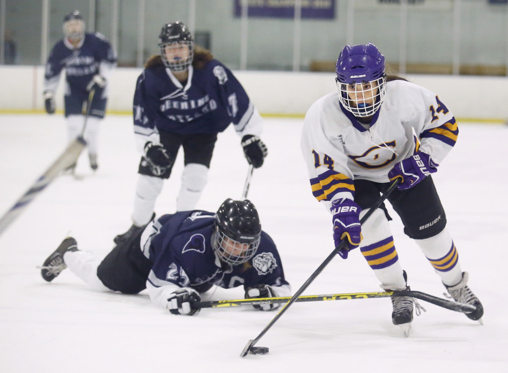 Sophia Pompeo of Cheverus breaks away from Lillian Frager in the second period.
