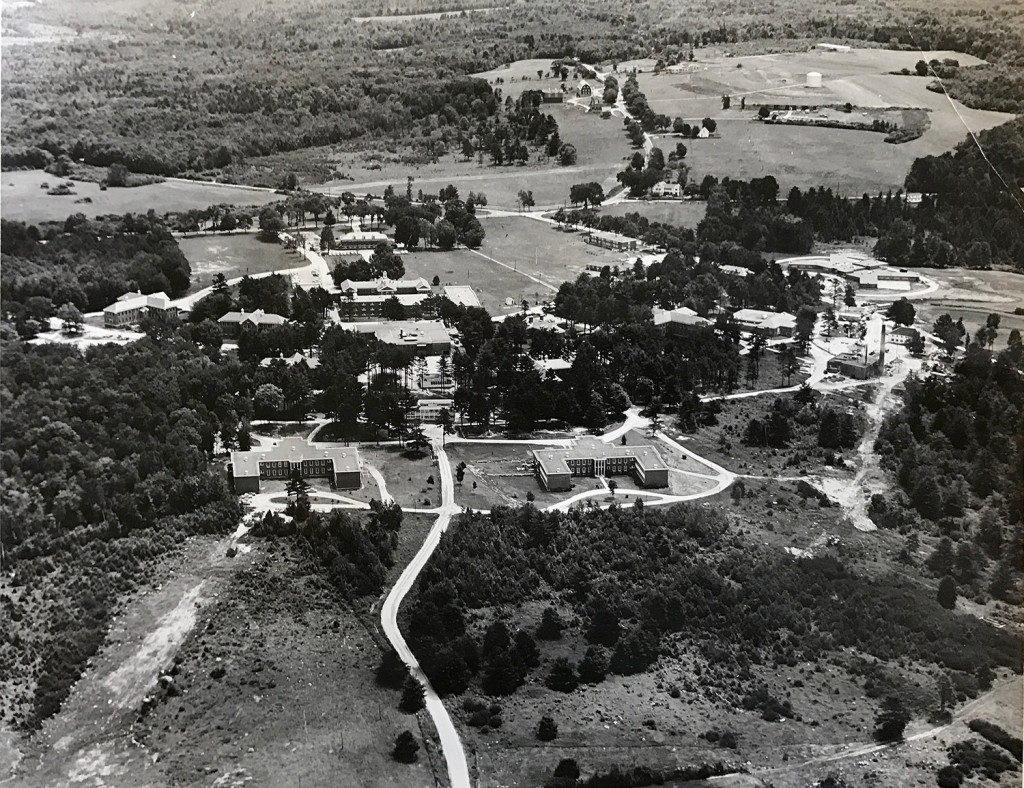 An aerial view in 1962 shows the sprawling complex of buildings that was Pineland Hospital and Training Center. In 1939, there were 51 buildings and about 200 employees at the center, according to Maine History Online. The patient population had decreased to fewer than 500 by the mid-1970s. Pineland closed in 1996.